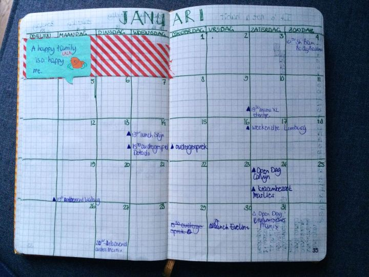 Bullet Journal month overview