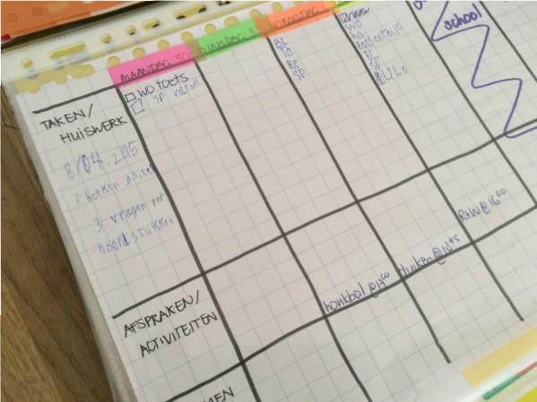 huiswerkplanner ingevuld