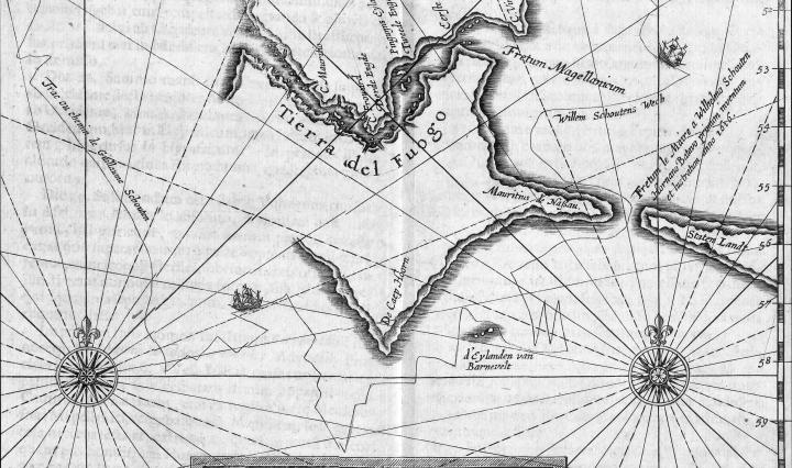 Oude landkaart Kaap Hoorn
