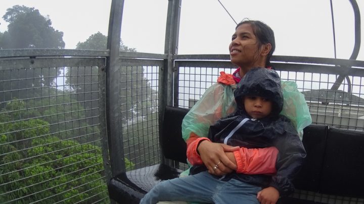 Mom and toddler in air tram