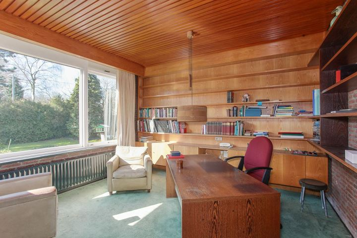 1960s study wood paneled ceiling