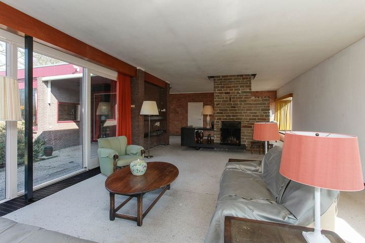 1960s living room with fire place