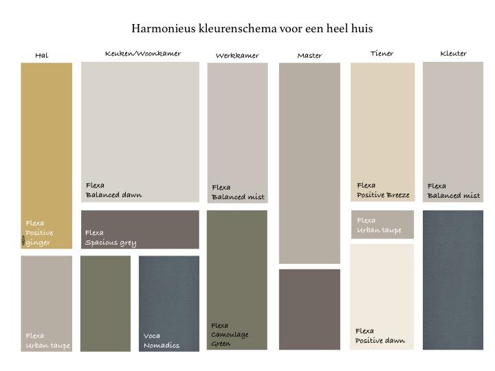Kleurenschema voor heel huis