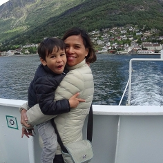 Insulated jackets on the boat to Flam